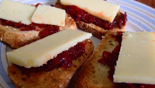 Beetroot relish and cheese