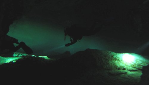 A picture actually taken on a safe and simple cave dive in Mexico, but you get the idea, it can be a little freaky down there in the dark